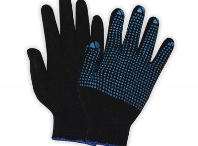 Seamless PVC Blue Dotted Gloves SWT-DSML-1006