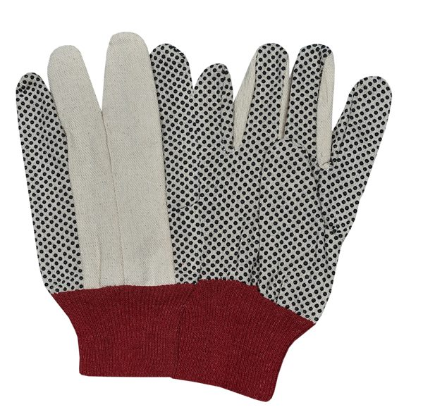 Drill Dotted Gloves with Red Knitted Wrist
