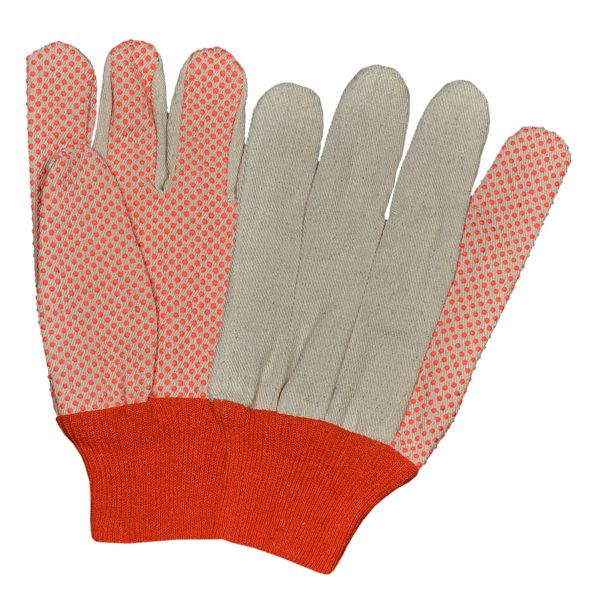 Drill Canvas Flourescent Gloves With PVC Dots Straight Thumb Orange K/W
