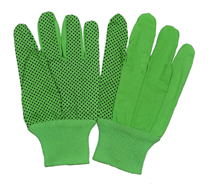Drill Green/Black PVC Dots Gloves With Green Knitted Wrist
