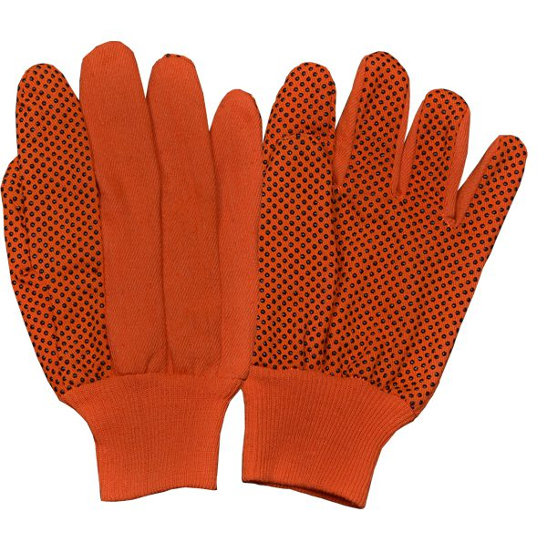 Drill Orange/Black PVC Dots Gloves With Orange Knitted Wrist