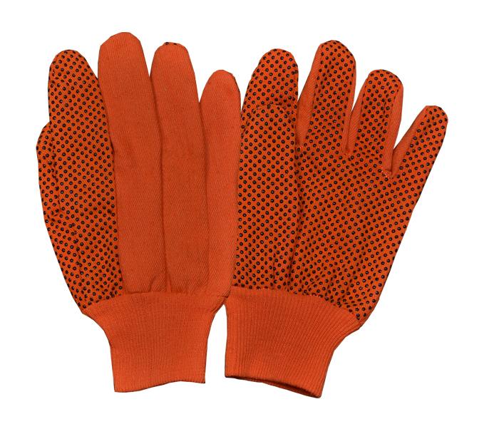 Drill Orange/Black PVC Dots Gloves With Orange Knitted Wrist